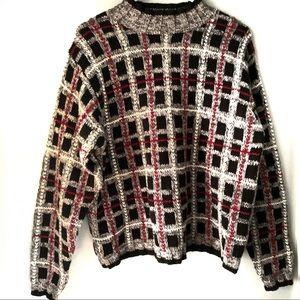 Vintage Cullinane Oversized Textured Plaid Sweater